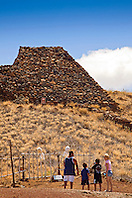 Puukohola Heiau - the temple on the whale hill, the largest and last heiau constructed in 1790-91 by Kamehameha I, Puukohola Heiau National Historic Site, Kawaihae, Kohala, Big Island, Hawaii, USA