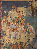 Fresco of a children's choir, 1931, by Maurice Guy-Loe, pseudonym of Maurice Guyot, 1898-1991, in the Salon de Musique or Music Room of the Fondation Deutsch de la Meurthe, designed by Lucien Bechmann, 1880-1968, built 1923-35 and inaugurated in 1925, in the Cite Internationale Universitaire de Paris, in the 14th arrondissement of Paris, France. This was the first residence built at CIUP and was influenced by the style of English University colleges at Oxford and consists of 7 pavilions around a garden. The buildings are listed as a historic monument. The CIUP or Cite U was founded in 1925 after the First World War by Andre Honnorat and Emile Deutsch de la Meurthe to create a place of cooperation and peace amongst students and researchers from around the world. It consists of 5,800 rooms in 40 residences, accepting another 12,000 student residents each year. Picture by Manuel Cohen. Further clearances may be requested.