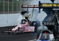 Nov. 9, 2012; Pomona, CA, USA: NHRA top fuel dragster driver Terry McMillen during qualifying for the Auto Club Finals at at Auto Club Raceway at Pomona. Mandatory Credit: Mark J. Rebilas-