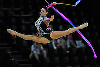 September 22, 2011; Montpellier, France;  JULIE ZETLIN of USA performs with ribbon at 2011 World Championships.
