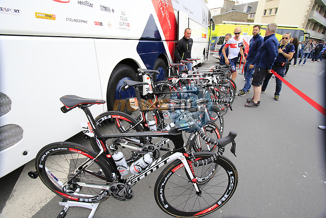 IAM Cycling Scott Foil team bikes at the team bus before the start of Stage 3 of the 2016 Tour de France, running 223.5km from Granville to Angers, France . 4th July 2016.<br /> Picture: Eoin Clarke | Newsfile<br /> <br /> <br /> All photos usage must carry mandatory copyright credit (&copy; Newsfile | Eoin Clarke)
