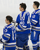 Tyler Ledford (AFA - 13), Shane Starrett (AFA - 40), Matt Serratore (AFA - 12) - The Harvard University Crimson defeated the Air Force Academy Falcons 3-2 in the NCAA East Regional final on Saturday, March 25, 2017, at the Dunkin' Donuts Center in Providence, Rhode Island.