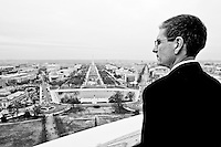 Heck looks out over the National Mall in Washington during his tour of the U.S. Capitol dome on Dec. 14, 2011.  (Photo by Bill Clark/Getty Images)