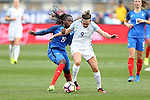 CHESTER, PA - MARCH 01: Jodie Taylor (ENG) (9) and Griedge M'bock (FRA) (19). The England Women's National Team played the France Women's National Team as part of the She Believes Cup on March, 1, 2017, at Talen Engery Stadium in Chester, PA. The France won the game 2-1.
