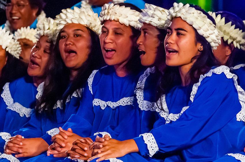 Tamarii Mataiea choir performing during in the Winners Showcase, the final night of the Heiva i Tahiti (July cultural festival), Place Toata, Papeete, Tahiti, French Polynesia.