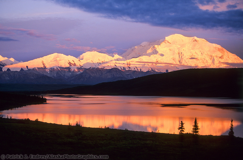 Mt. Denali, Pink Alpenglow On Denali's North Face, Denali National Park, Alaska.
