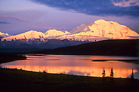 Mt. McKinley (locally called Denali) pink alpenglow on Denali's north face, Denali National Park, Alaska.