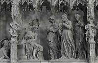 The Holy ladies arriving at the sepulchre, carrying jars of perfume, by Thomas Boudin, 1611-12, from the choir screen, Chartres Cathedral, Eure-et-Loir, France. Chartres cathedral was built 1194-1250 and is a fine example of Gothic architecture. It was declared a UNESCO World Heritage Site in 1979. Picture by Manuel Cohen.