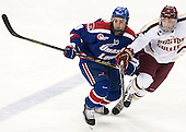 Colin Wright (UML - 8), Michael Sit (BC - 18) - The University of Massachusetts Lowell River Hawks defeated the Boston College Eagles 4-2 (EN) on Tuesday, February 26, 2013, at Kelley Rink in Conte Forum in Chestnut Hill, Massachusetts.