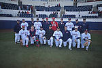 Former Rebels participating in the Ole Miss baseball alumni game at Oxford-University Stadium in Oxford, Miss. on Saturday, February 5, 2011 are FRONT (l. to r.) Cody Overbeck, Brett Basham, Kevin Mort, Nathan Baker, Alex Presley, Chris Coghlan, Tim Ferguson, Matt Tolbert and BACK (l. to r.) head coach Mike Bianco, Jordan Henry, Ryan Bukvich, Justin Henry, Drew Pomeranz, Aaron Barrett, Lance Lynn, Brett Bukvich, Stephen Head, Mark Holliman, and Phillip Irwin.