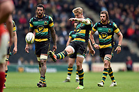 Harry Mallinder of Northampton Saints kicks for touch. Aviva Premiership match, between Northampton Saints and Saracens on April 16, 2017 at Stadium mk in Milton Keynes, England. Photo by: Patrick Khachfe / JMP