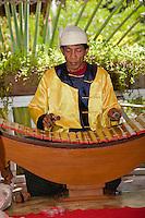 Myanmar, Burma. Bagan.  Burmese Xylophone (Pattalar) Player.
