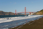 San Francisco: Baker Beach with Golden Gate Bridge in background.  Photo # 2-casanf76423.  Photo copyright Lee Foster