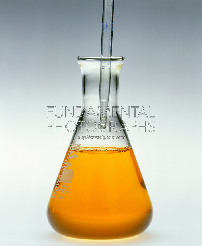 PRECIPITATION: FERRIC HYDROXIDE<br /> (1 of 2 - Variations Available)<br /> Sodium Hydroxide Added to Ferric Sulfate<br /> NaOH in pipette  added to Fe2(SO4)3(aq) in erlenmeyer flask precipitates Fe(OH)3(s). Ferric hydroxide is actually hydrated ferric oxide-Fe2O3 x H2O which is very insoluble(Ksp=2.6x10-39) and forms when the pH rises above pH2.