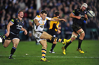 Jimmy Gopperth of Wasps puts boot to ball. European Rugby Champions Cup match, between Bath Rugby and Wasps on December 19, 2015 at the Recreation Ground in Bath, England. Photo by: Patrick Khachfe / Onside Images
