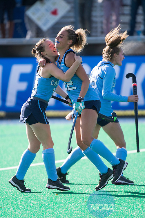 NORFOLK, VA - NOVEMBER 20:  Eef Andriessen (10) and Eva van't Hoog (22) of the University of North Carolina celebrate a goal against the University of Delaware during the Division I Women's Field Hockey Championship held at the LR Hill Sports Complex on November 20, 2016 in Norfolk, Virginia.  Delaware defeated North Carolina 3-2 for the national title. (Photo by Jamie Schwaberow/NCAA Photos via Getty Images)