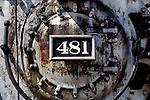 Detail on front of engine 481, Durango & Silverton Narrow Gauge Railroad, Durango, Colorado