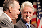 Washington, DC , USA, 20050512: Former Presidents George H. W. Bush and Bill J. Clinton, held each a briefing and an appeal for further support at the Private Sector Summit for Post- Tsunami Reconstruction & rehabilitation at the Ronald Reagan Building & International Trade Center. Richard Holbrooke, chairman in the Asia Society, was moderator. Photo: Orjan F. Ellingvag/ Dagbladet/ Corbis