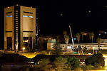 On Dec. 25, 2013, the Reiterdenkmal (Equestrian Monument) in Windhoek was removed in a clandestine illegal operation by the Namibian government. The monument had been erected by German colonial rulers in 1912. The new independence museum looms on the left.