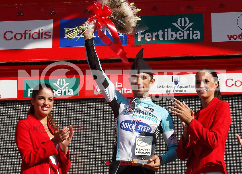 Dario Cataldo celebrates the victory in the stage of La Vuelta 2012 between Gijon and Valgrande-Pajares (Cuitu Negru).September 3,2012. (ALTERPHOTOS/Paola Otero) /NortePhoto.com<br /> <br /> **CREDITO*OBLIGATORIO** <br /> *No*Venta*A*Terceros*<br /> *No*Sale*So*third*<br /> *** No*Se*Permite*Hacer*Archivo**<br /> *No*Sale*So*third*