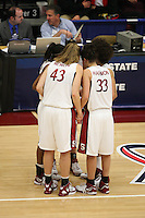 19 March 2007: Kristen Newlin, Cissy Pierce and the team huddle during Stanford's 68-61 second round loss to Florida State in the 2007 NCAA Division I Women's Basketball Championships at Maples Pavilion in Stanford, CA.