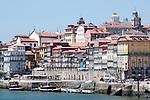 Ribeira in Porto, Portugal. Buildings along the Douro River in Porto, Portugal.