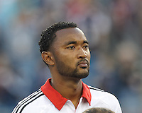 D.C. United defender James Riley (2). In a Major League Soccer (MLS) match, the New England Revolution (blue) tied D.C. United (white), 0-0, at Gillette Stadium on June 8, 2013.