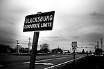 VATech shootings Day 3..blacksburg city limits sign..photo: Hector Emanuel
