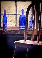 Blue Bottles in Window