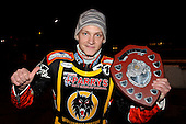 Fredrik Lindgren of Wolves with the Elite League Shield - Lakeside Hammers vs Wolverhampton Wolves, Elite Shield Speedway at the Arena Essex Raceway, Purfleet - 26/03/10 - MANDATORY CREDIT: Rob Newell/TGSPHOTO - Self billing applies where appropriate - 0845 094 6026 - contact@tgsphoto.co.uk - NO UNPAID USE.