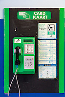 South Africa, Cape Town, Nyanga Township.  Public Telephone using Pre-paid Phone Cards in 2013.