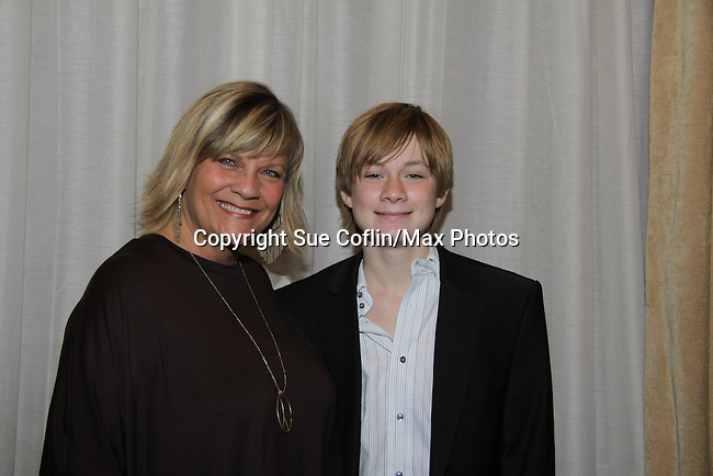 Kim Zimmer and Austin Williams at The One Life To Live Lucheon at the Hemsley Hotel in New York City, New York on October 9, 2010. (Photo by Sue Coflin/Max Photos)