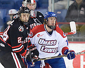 Drew Daniels (Northeastern - 24), Chris Rawlings (Northeastern - 37), Michael Budd (Lowell - 18) - The visiting Northeastern University Huskies defeated the University of Massachusetts-Lowell River Hawks 3-2 with 14 seconds remaining in overtime on Friday, February 11, 2011, at Tsongas Arena in Lowelll, Massachusetts.