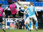 St Johnstone v Dundee&hellip;11.03.17     SPFL    McDiarmid Park<br />Paul McGowan puts a high boot in on Paul Paton<br />Picture by Graeme Hart.<br />Copyright Perthshire Picture Agency<br />Tel: 01738 623350  Mobile: 07990 594431