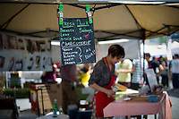 Hudson Valley Duck on opening day at the Smorgasburg in the Williamsburg neighborhood of Brooklyn in New York on Saturday, May 21, 2011. The new marketplace features a Greenmarket and prepared food made in Brooklyn by small entrepreneurs. The market is the creation of the operators of the wildly successful Brooklyn Flea. (© Frances M. Roberts)