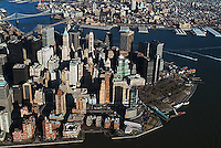 aerial photograph downtown Manhattan, Battery Park, New York City