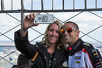 New York, USA. 23 April 2014.  Supercross motorcycle racer Mike Alessi   promotes his motorcycle race during a visit to the Empire State Building in New York. Photo by Eduardo Munoz Alvarez/VIEWpress