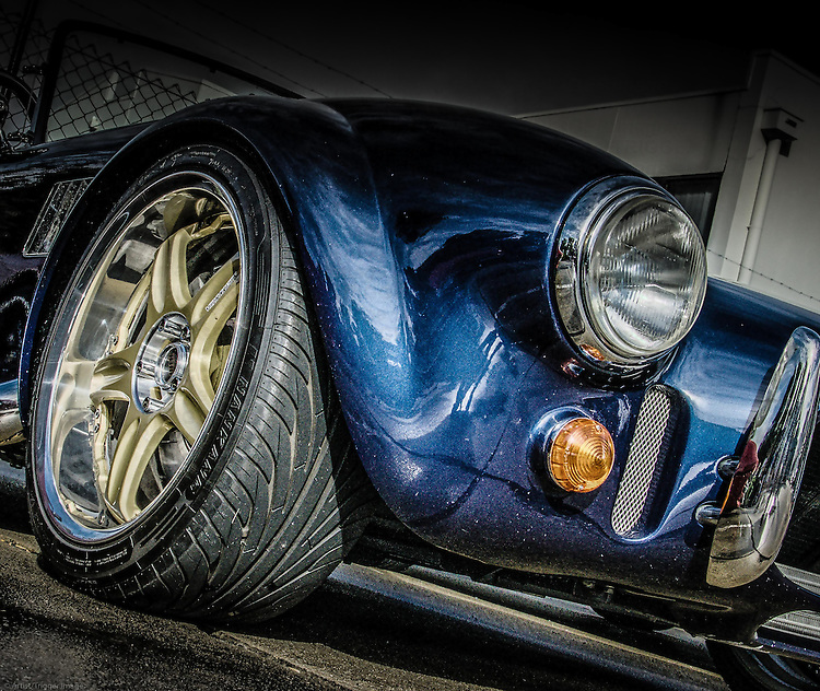 Low angle view of AC Cobra car from USA
