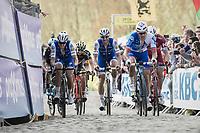 Matteo Trentin (ITA/QuickStep Floors), Tom Boonen (BEL/Quick-Step Floors) &amp; Arnaud D&eacute;mare (FRA/FDJ) up the Paterberg<br /> <br /> 101th Ronde Van Vlaanderen 2017 (1.UWT)<br /> 1day race: Antwerp &rsaquo; Oudenaarde - BEL (260km)