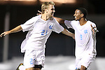 02 October 2012: UNC's Cooper Vandermaas-Peeler(21) celebrates his goal with Jordan McCrary (9). The University of North Carolina Tar Heels defeated the Georgia Southern Eagles 2-0 at Fetzer Field in Chapel Hill, North Carolina in a 2012 NCAA Division I Men's Soccer game.