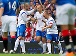 Rangers v St Johnstone....28.08.10  .Danny Grainger celebrates his goal with Kevin Rutkiewicz and Jody Morris.Picture by Graeme Hart..Copyright Perthshire Picture Agency.Tel: 01738 623350  Mobile: 07990 594431