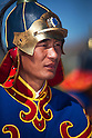 A Mongolian guard member stands while being addressed by Mongolian President Ts. Eldegdorj at the opening ceremony of Exercise Khaan Quest 2011 in the Five Hills Training Area, Ulaanbaatar, Mongolia, July 31st, 2011. Khaan Quest is a training exercise for strengthen the capabilities of U.S., Mongol and other nation are forced for supporting the international peacekeeping operations. (Photo by Cpl. Tyler Main/U.S. Marine Corps/AFLO) [0006]