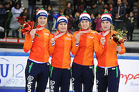 SHORT TRACK: TORINO: 15-01-2017, Palavela, ISU European Short Track Speed Skating Championships, Relay Ladies, Bronze medal, Team Netherlands, Suzanne Schulting, Yara van Kerkhof, Rianne de Vries, Lara van Ruijven, ©photo Martin de Jong