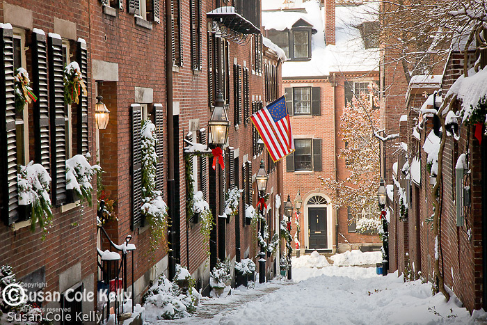 Fresh snow on Acorn Street in Beacon Hill, Boston, MA