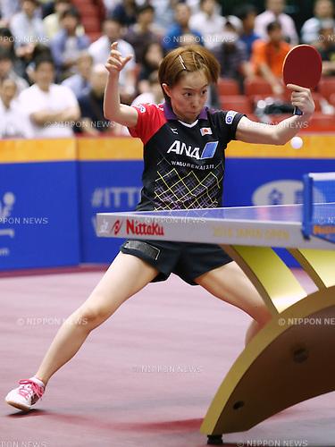 Kasumi Ishikawa (JPN), JUNE 17, 2016 - Table Tennis : ITTF World Tour, Japan Open 2016 <br /> Women's singles <br /> match at Tokyo Metropolitan Gymnasium, Tokyo, Japan. (Photo by Sho Tamura/AFLO SPORT)