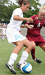 1 September 2007: North Carolina's Casey Nogueira (54) and South Carolina's Kim Miller (5). The University of South Carolina Gamecocks defeated the University of North Carolina Tar Heels 1-0 at Fetzer Field in Chapel Hill, North Carolina in an NCAA Division I Womens Soccer game.