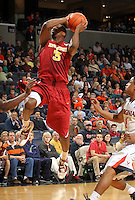 Dec. 30, 2010; Charlottesville, VA, USA; Iowa State Cyclones forward Melvin Ejim (3) shoots the ball in front of Virginia Cavaliers guard Jontel Evans (1) during the game at the John Paul Jones Arena. Mandatory Credit: Andrew Shurtleff