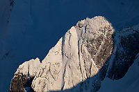Aerial of the Arrigetch Peaks,  rugged granite spires in the central Brooks Range of arctic Alaska, Gates of the Arctic National Park. The name means 'fingers of the outstretched hand' in the Inupiat language.