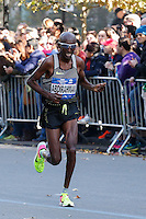 NEW YORK, NY - NOVEMBER 6 ,2016. Abdi Abdirahman of United States runs before he wins the Third place at the TCS NYC Marathon men's race in New York November 06, 2016 (Photo by Kena Betancur/VIEWpress)
