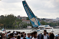 Extreme Sailing Series 2011. Act 3.Turkey . Istanbul.Oman Air Skippered by Sidney Gavignet with teammates Nasser Al Mashari, David Carr and Kinley Fowler.Credit Lloyd Images
